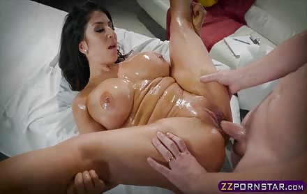 Busty pornstar Raven Hart oiled up and doing anal