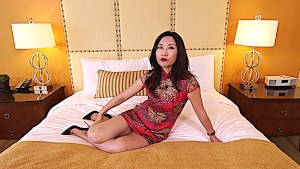 Chinese single mom gets hot and naughty with a young white dick